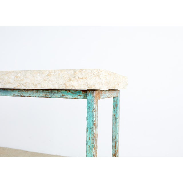 Patinated Iron and Stone Garden Console Table For Sale - Image 10 of 13