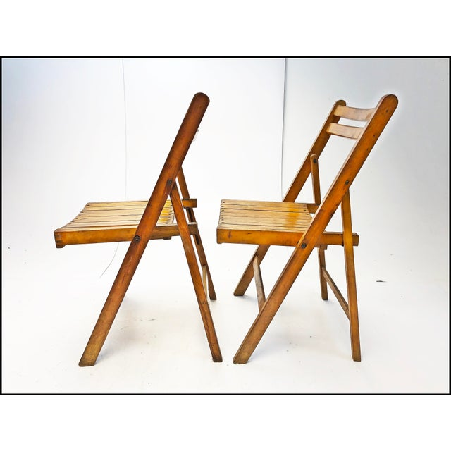 Vintage Rustic Slat Wood Folding Chairs - Set of 4 For Sale - Image 4 of 13