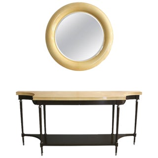 William Switzer, Lucien Rollin & Andre Arbus Goatskin Lacquered Console & Mirror - 2 pieces For Sale