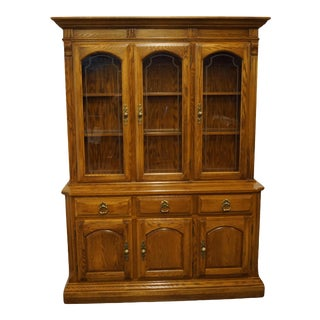 French Temple Stuart Oak Hill Collection Buffet With Lighted China Cabinet For Sale