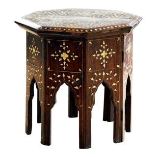 Antique Moroccan Walnut and Camel Bone Inlay Tabouret Table For Sale