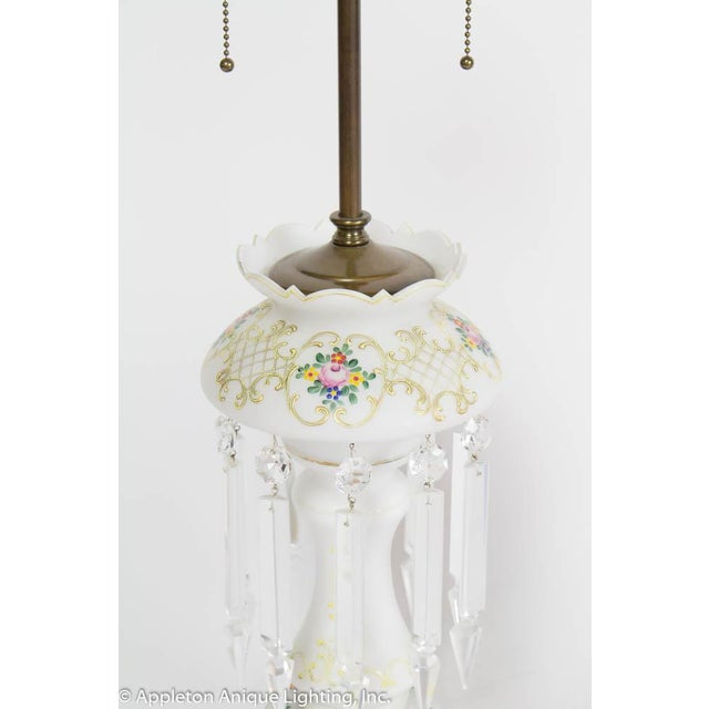Traditional 19th Century Victorian Electrified Lustre Lamps - a Pair For Sale - Image 3 of 5