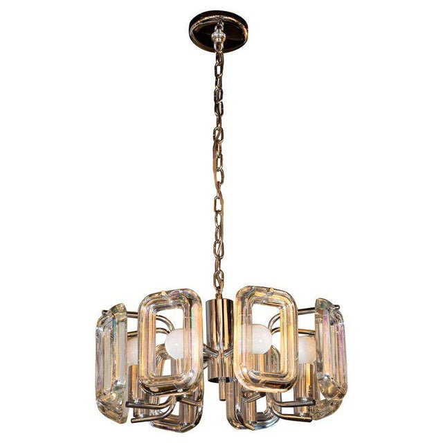 Gold Mid-Century Modern Rectilinear Chrome and Iridescent Glass Eight-Arm Chandelier For Sale - Image 8 of 8