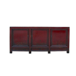 Distressed OxBlood Red Finish High Credenza Console Buffet Table For Sale
