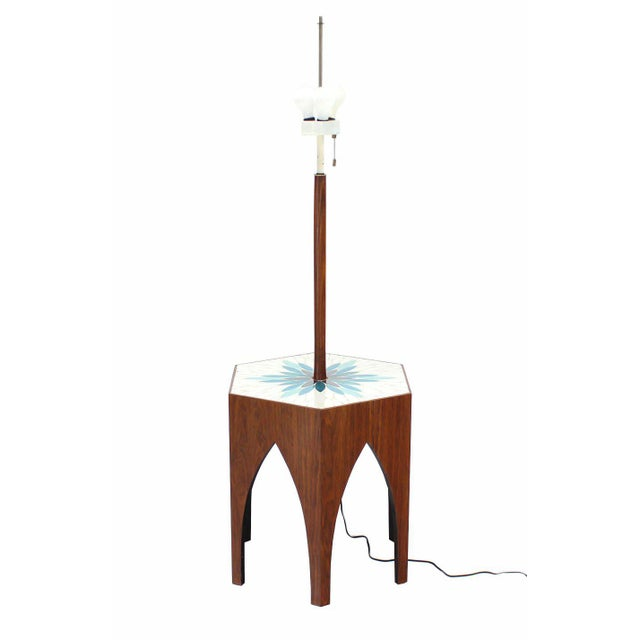 Very nice tile pattern walnut base floor lamp with table by Harvey Probber.