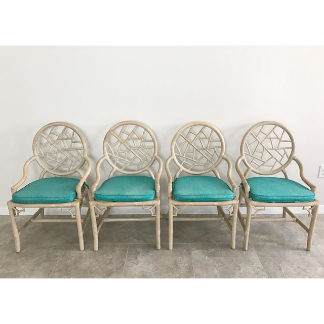 """Set/4 vintage McGuire """"Cracked Ice"""" rattan chairs. This set has some surface wear in keeping with age, please see..."""