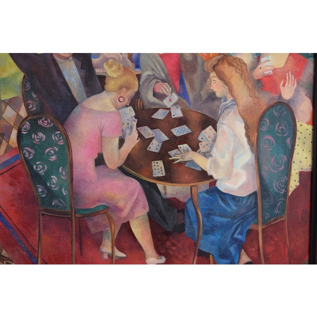 Olga Oreshnikov Oil Painting Flirtation While Playing Cards Russian Israeli Artist For Sale In Chicago - Image 6 of 9