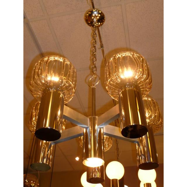 Silver Five Globe Nickel Lightolier Mid Century Chandelier For Sale - Image 8 of 9