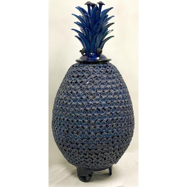 Late 20th Century Large Scale Terracotta Blue Pineaaple For Sale - Image 5 of 7