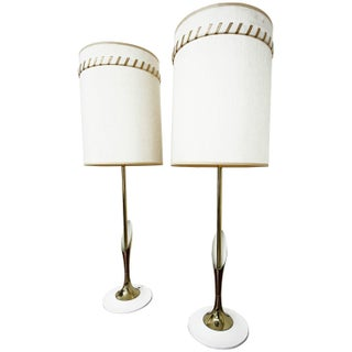 Laurel Mid-Century Sculptural Brass Lamps - A Pair
