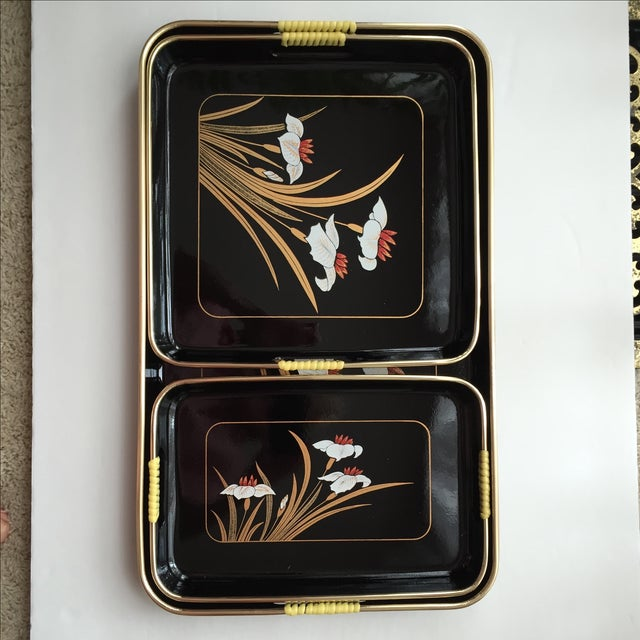 Black Lacquered Trays - Set of 3 - Image 8 of 11