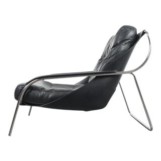 Marco Zanuso Maggiolina Sling Black Leather Chair by Zanotta, 1947