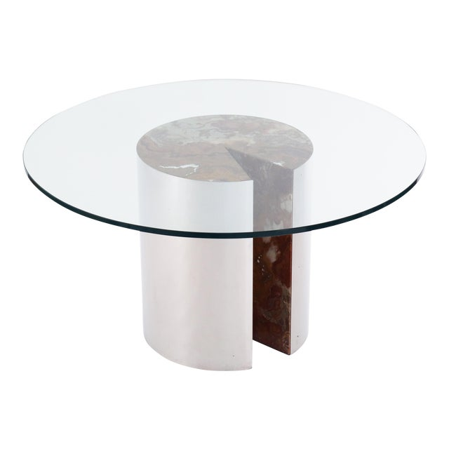 Vintage Mid Century Leon Rosen for Pace Collection Chrome, Onyx and Glass Dining Table For Sale