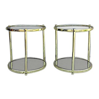 Italian Brass and Glass Side Tables - a Pair For Sale