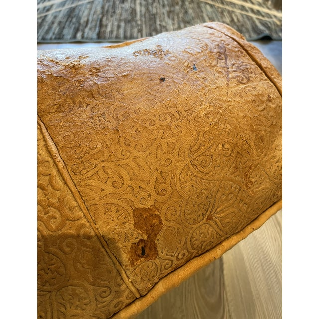 Ornate Turkish Imprinted Leather Poof For Sale - Image 4 of 7