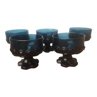 1970s Art Deco Blue Franciscan Champagne Glasses - Set of 5
