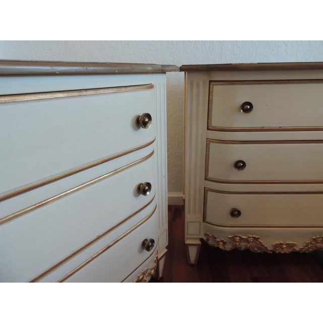 Pair of Neoclassical Style Natural and Gold Leaf Detail Nightstands For Sale - Image 9 of 10