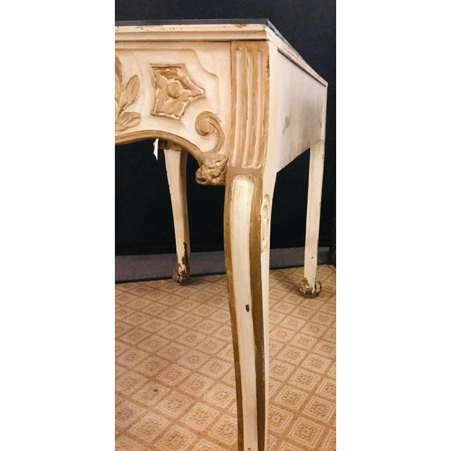 Finely Carved White and Parcel-Gilt Decorated Vanity / Desk by Jansen For Sale - Image 10 of 13