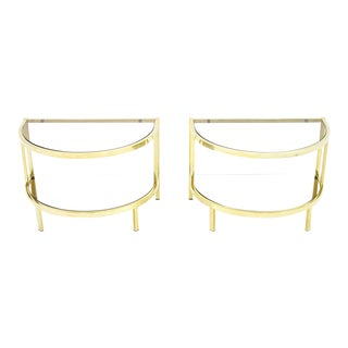 Pair of Brass and Glass Bed Side Tables, 1970s For Sale