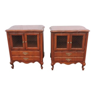 French Pair of Tall Cherry Nightstands End Side Tables by Mount Airy For Sale