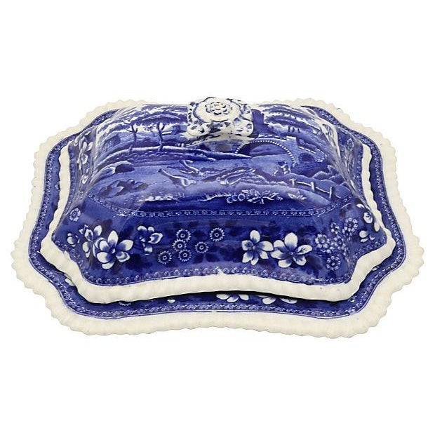 Spode covered tureen with gadrooned edges. Pattern is Spode Tower. The pattern dates to one of Spode's earliest and most...