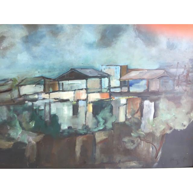 "Modern Swedish ""Building in Moonlight"" Painting - Image 2 of 9"