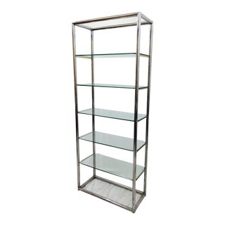 Mid-Century Modern Tubular Chrome & Glass Etagere Shelf For Sale