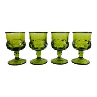 Vintage Green Wine Glasses - Set of 4 For Sale