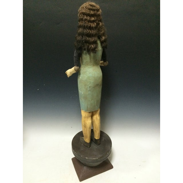 Green Handcarved Wood Articulated Female Mannequin For Sale - Image 8 of 11