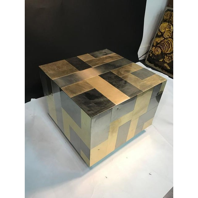 UNUSUAL CUBE-SHAPED BRASS AND CHROME PATCHWORK TABLE BY PAUL EVANS For Sale - Image 9 of 9