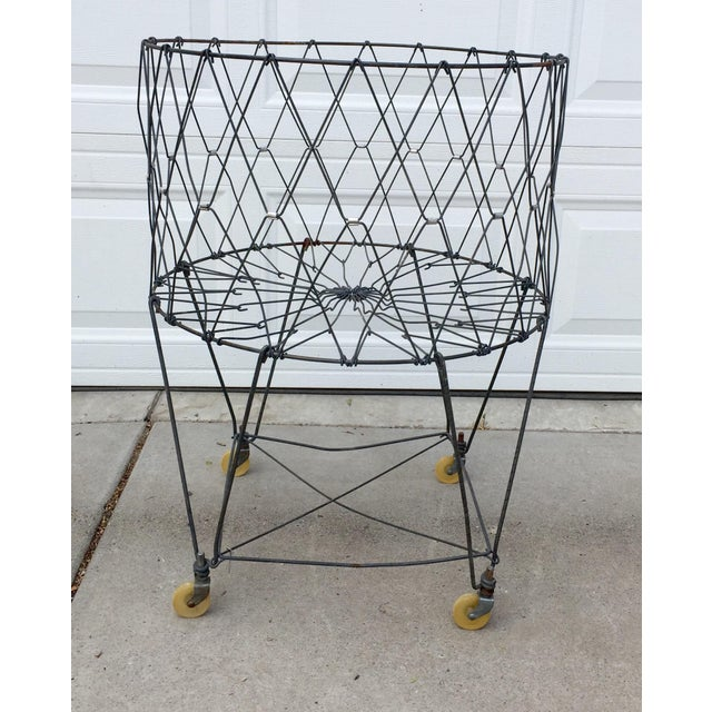 Vintage Industrial Collapsible Wire Laundry Basket on Casters For Sale - Image 13 of 13