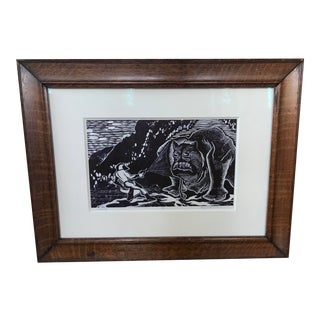 Vintage Abstract Sci Fi Comic Block Print Lithograph For Sale