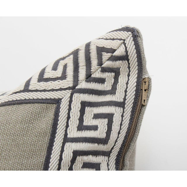 Pewter Linen Greek Key Pillows, a Pair For Sale - Image 4 of 6
