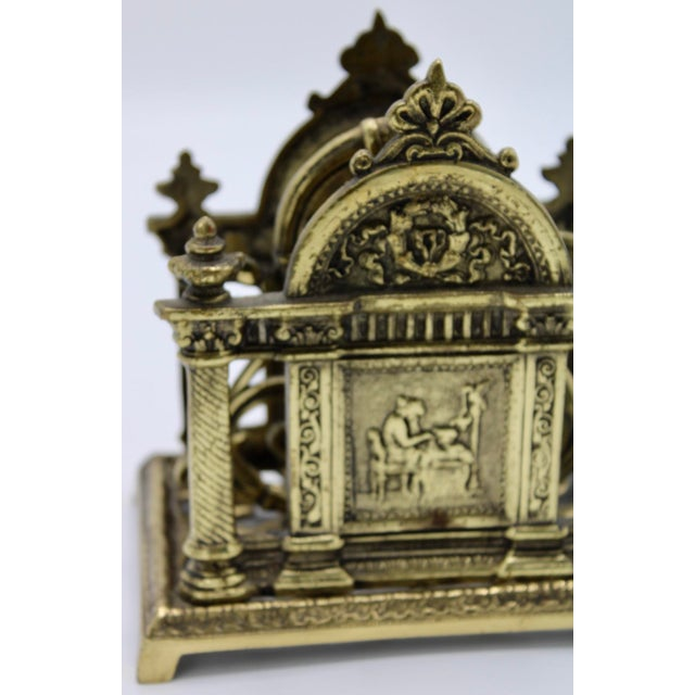 Renaissance Revival Double Brass Letter Rack With Carrying Handle For Sale - Image 6 of 12