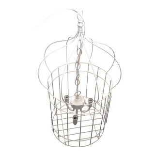 White Birdcage 3 Light Chandelier With Antique Glass Prisms