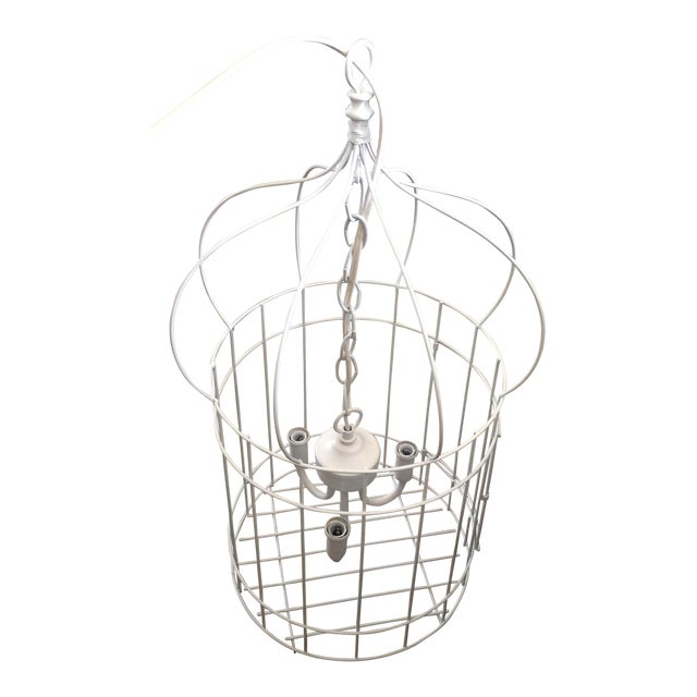 White Birdcage 3 Light Chandelier With Antique Glass Prisms - Image 1 of 9