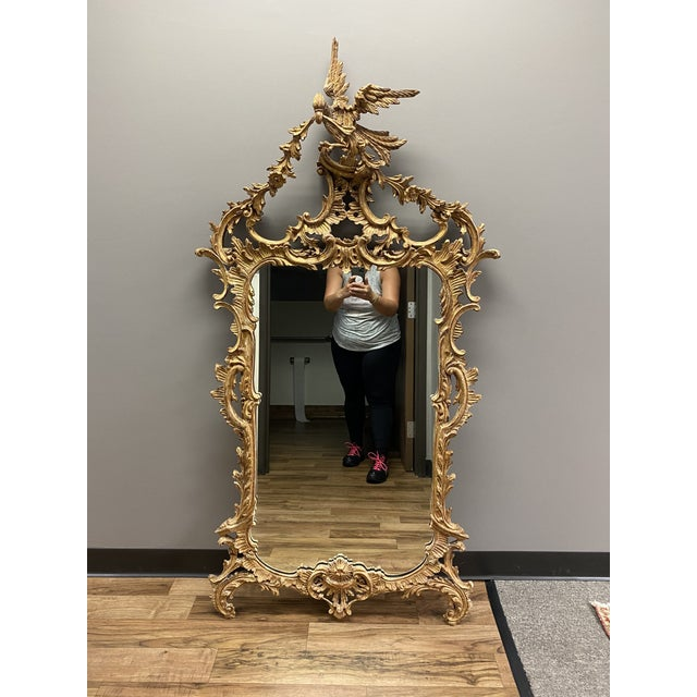 Gold 1960s Italian Style La Barge Gold Leaf Mirror For Sale - Image 8 of 8