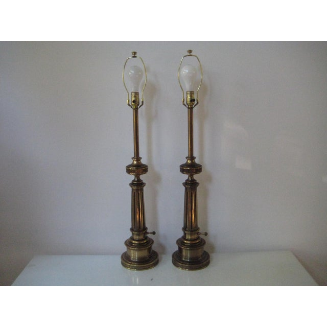 Stiffel Federal Style Brass Table Lamps - A Pair - Image 4 of 7