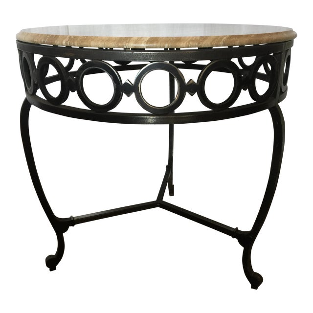 Wrought Iron & Marble End Table - Image 1 of 4