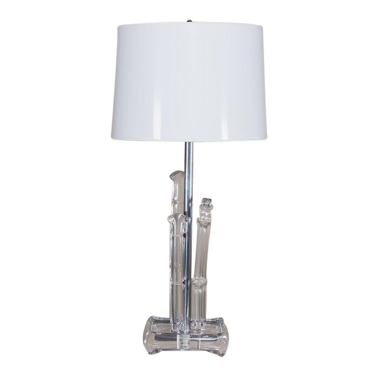 Vintage French Lucite Table Lamp Circa 1970