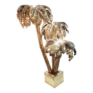 Maison Jansen Extra Large Brass Palm Tree Floor Lamp