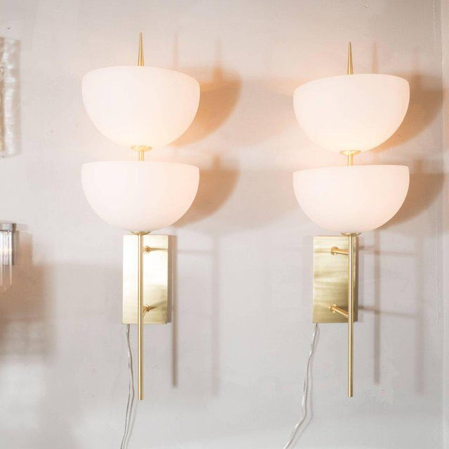 Early 21st Century Pair of Monumental Reverse-Dome Trophy Sconces in Murano Milk Glass and Brass For Sale - Image 5 of 8