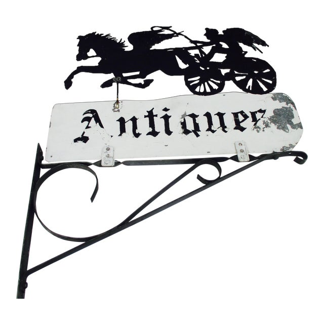"""Rusty Iron """"Antiques"""" Trade Sign Pegasus Horse - Image 1 of 11"""