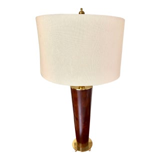 Remington Contemporary Solid Wood and Brass Table Lamp For Sale