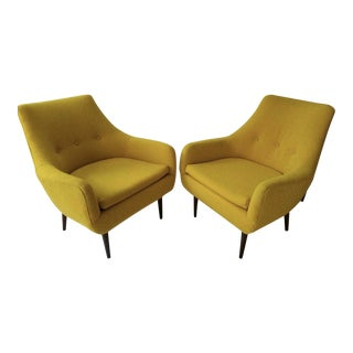1960s Mid-Century Modern Tufted Yellow Arm Chairs - a Pair