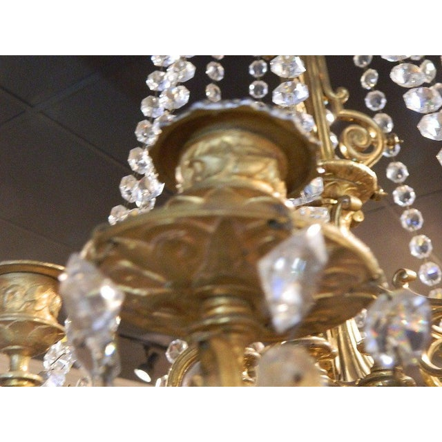 Gold French Bronze Dore Eighteen Candle Chandelier With Crystals, 19th Century For Sale - Image 8 of 11