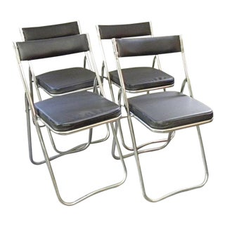 Vintage Mid Century Modern Chrome Folding Chairs- 4 Pieces For Sale