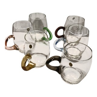 Vintage Glass Mugs With Multi Colored Handles - Set of 6 For Sale