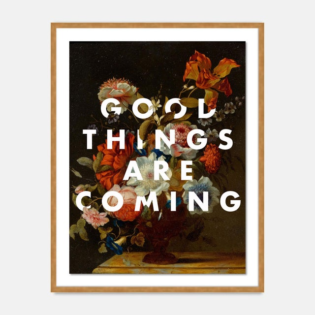 Contemporary Good Things Are Coming by Lara Fowler in Gold Framed Paper, Small Art Print For Sale - Image 3 of 3