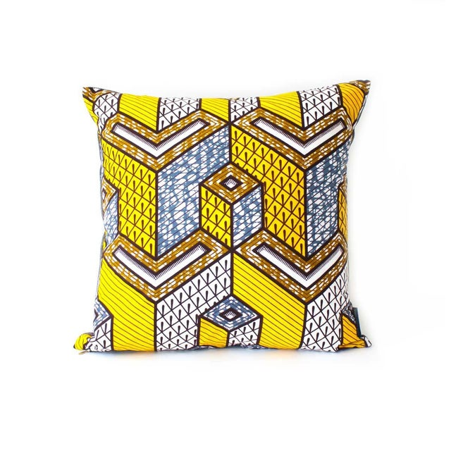 Yellow African Wax Print Square Pillow - Image 1 of 5